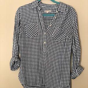 Gingham 3/4 length blouse